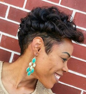 African American short fauxhawk hairstyle