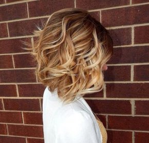 brown blonde curly bob